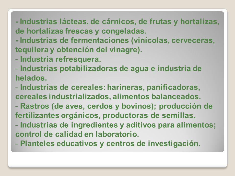 - Industrias lácteas, de cárnicos, de frutas y hortalizas, de hortalizas frescas y congeladas.
