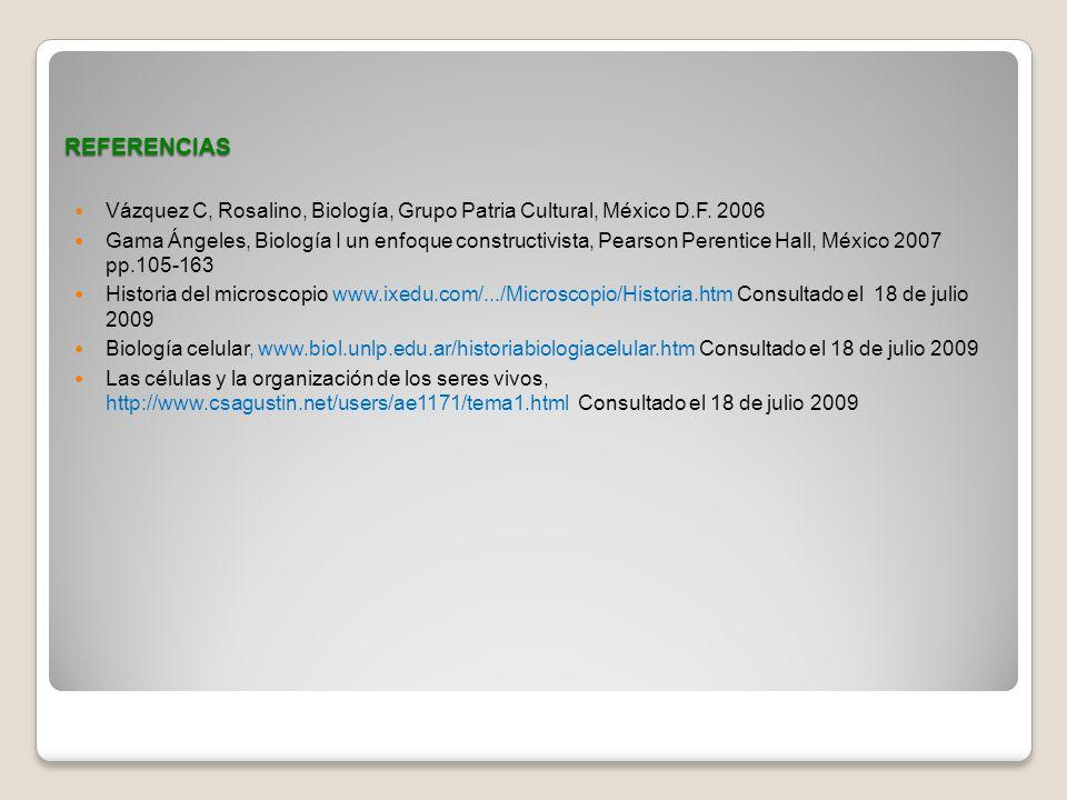 REFERENCIAS Vázquez C, Rosalino, Biología, Grupo Patria Cultural, México D.F. 2006.