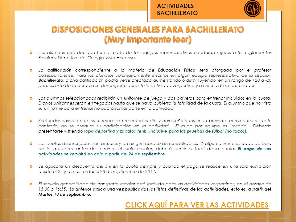 DISPOSICIONES GENERALES PARA BACHILLERATO (Muy importante leer)