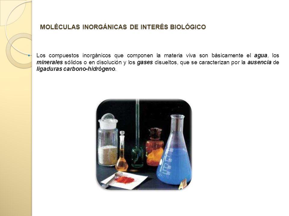 MOLÉCULAS INORGÁNICAS DE INTERÉS BIOLÓGICO