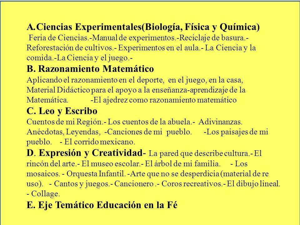 A.Ciencias Experimentales(Biología, Física y Química)