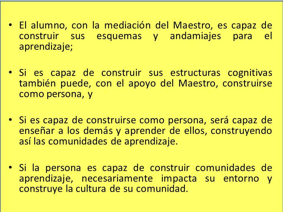 El alumno, con la mediación del Maestro, es capaz de construir sus esquemas y andamiajes para el aprendizaje;
