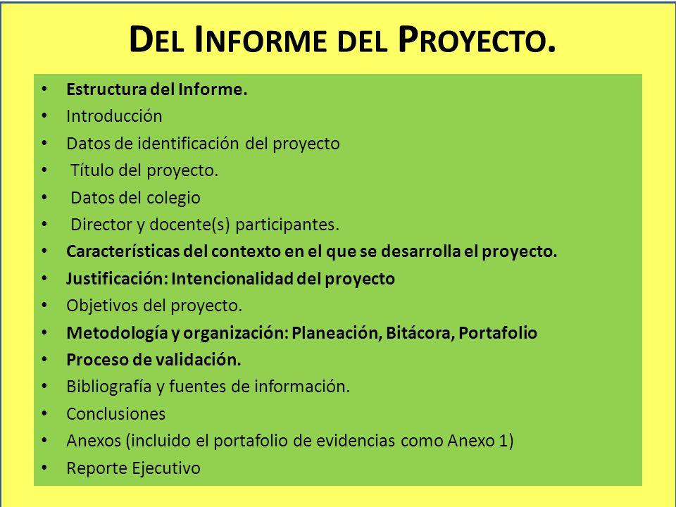 Del Informe del Proyecto.