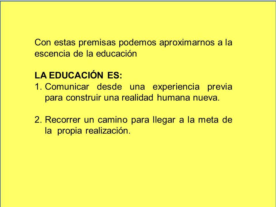Con estas premisas podemos aproximarnos a la escencia de la educación