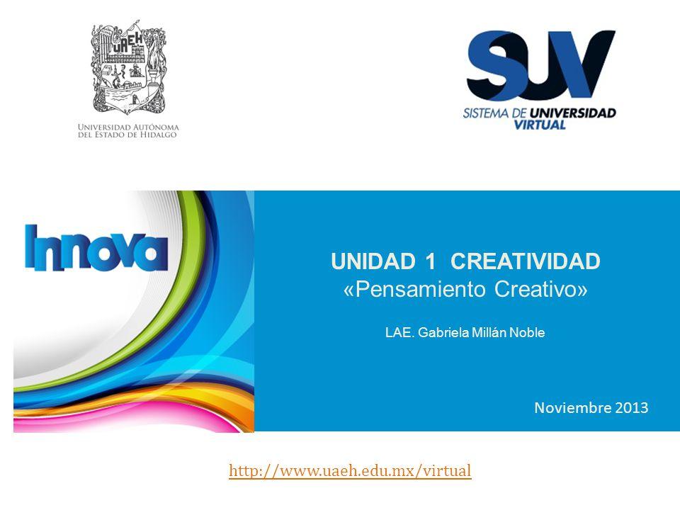 UNIDAD 1 CREATIVIDAD «Pensamiento Creativo» LAE. Gabriela Millán Noble