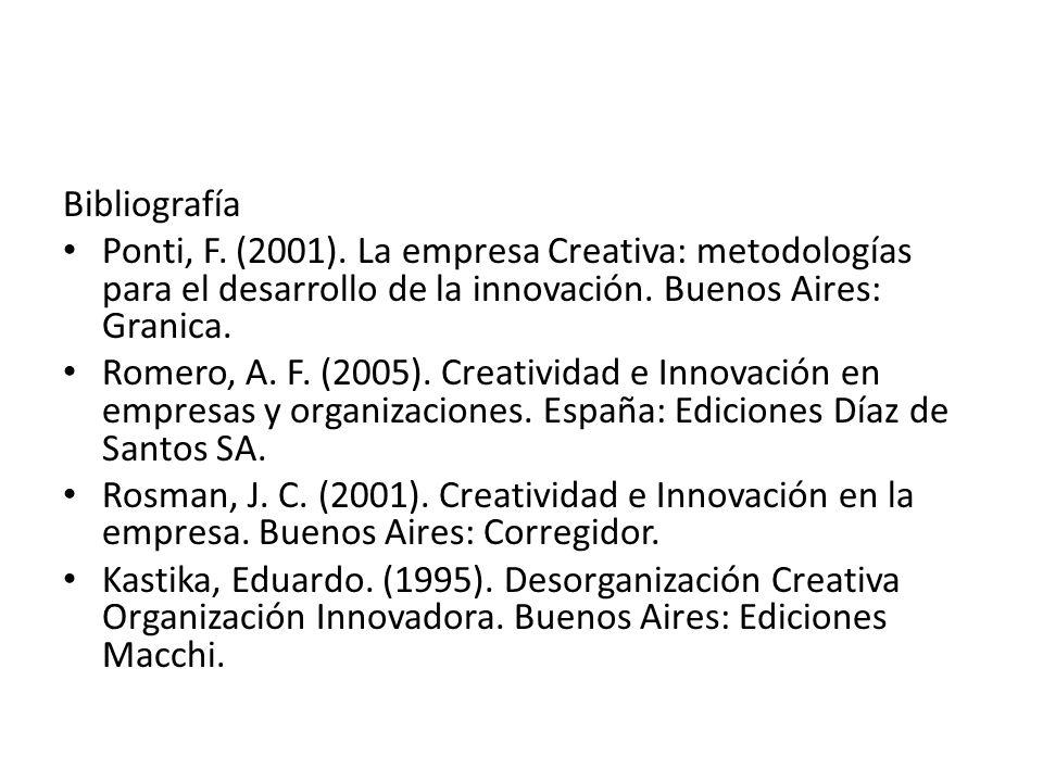 Bibliografía Ponti, F. (2001). La empresa Creativa: metodologías para el desarrollo de la innovación. Buenos Aires: Granica.