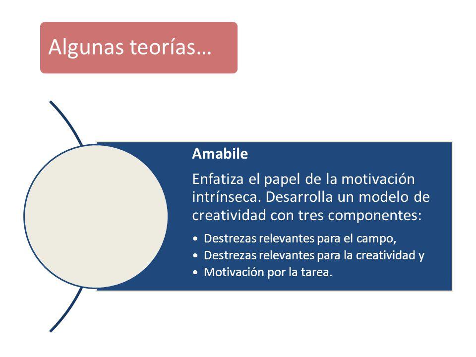 Algunas teorías… Amabile Enfatiza el papel de la motivación intrínseca. Desarrolla un modelo de creatividad con tres componentes: