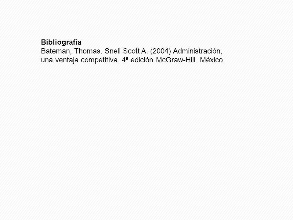 Bibliografía Bateman, Thomas. Snell Scott A. (2004) Administración, una ventaja competitiva.