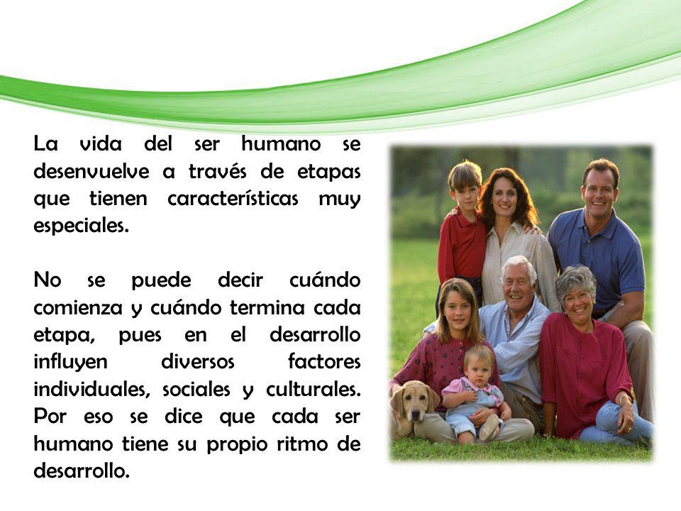 La vida del ser humano se desenvuelve a través de etapas que tienen características muy especiales.