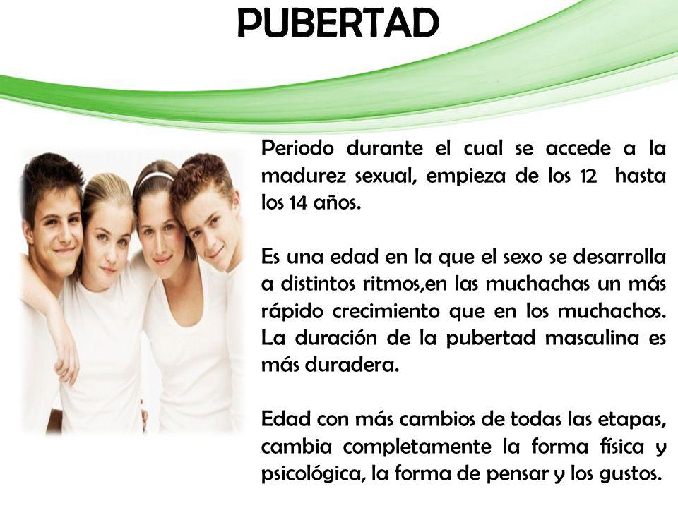 Periodo durante el cual se accede a la madurez sexual, empieza de los 12 hasta los 14 años.