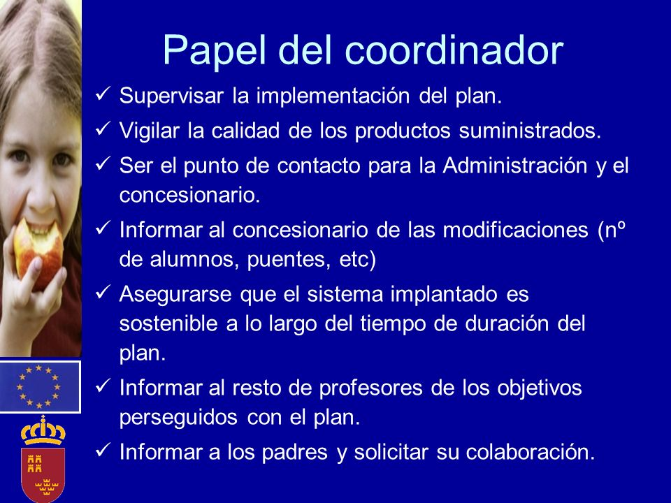 Papel del coordinador Supervisar la implementación del plan.