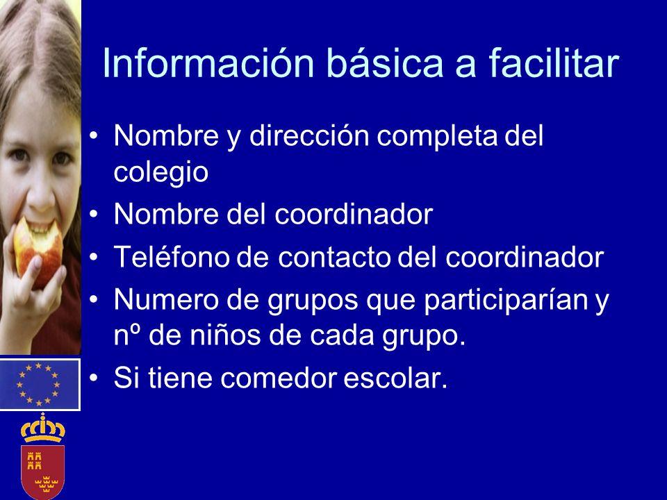 Información básica a facilitar
