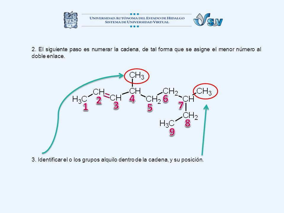 2. El siguiente paso es numerar la cadena, de tal forma que se asigne el menor número al doble enlace.