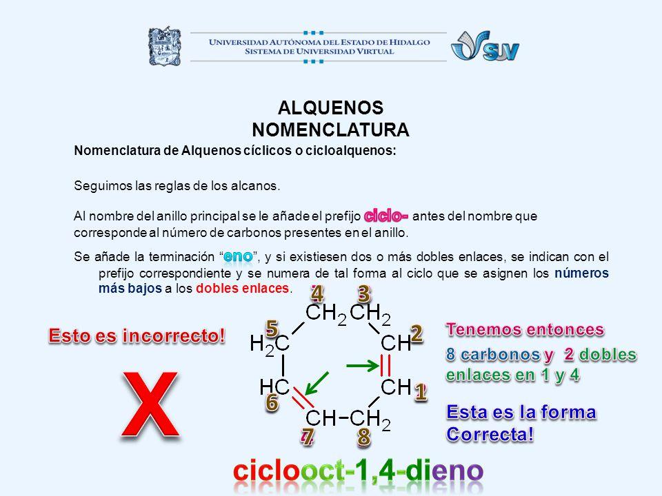 X ciclooct-1,4-dieno 7 4 3 8 6 5 1 2 1 2 6 5 4 7 3 8 ALQUENOS
