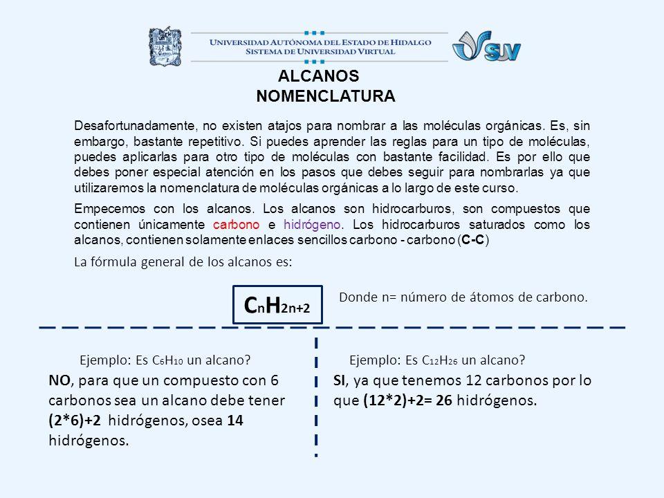 CnH2n+2 ALCANOS NOMENCLATURA