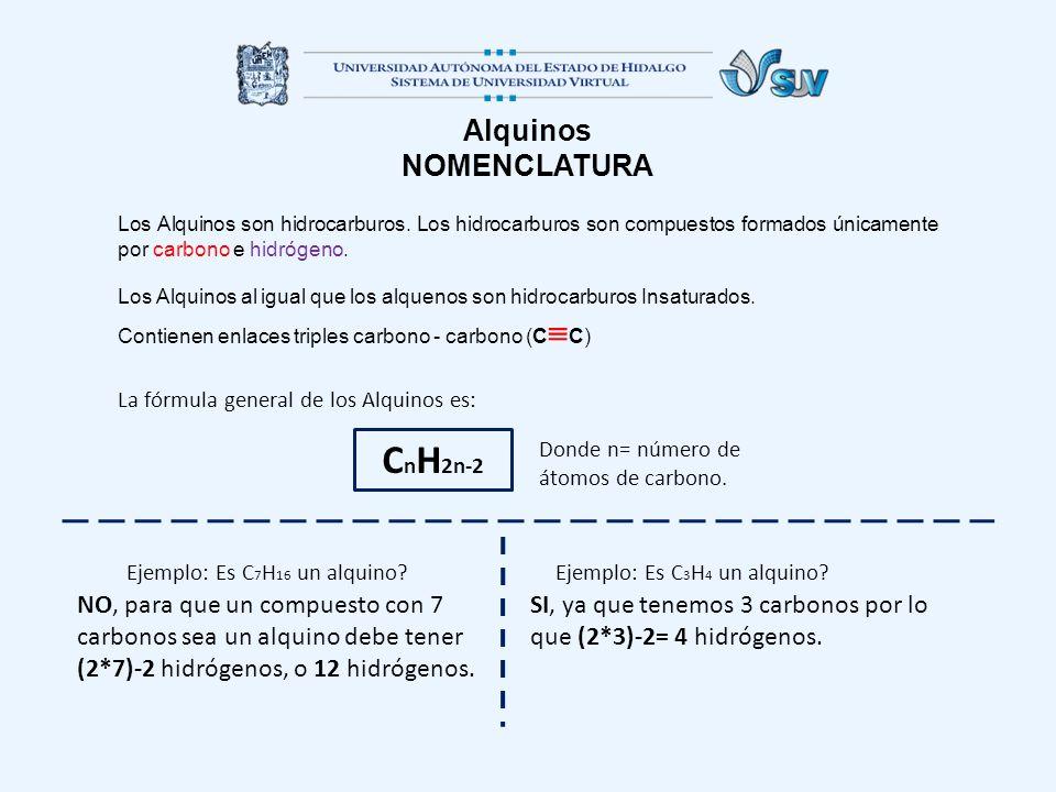 CnH2n-2 Alquinos NOMENCLATURA