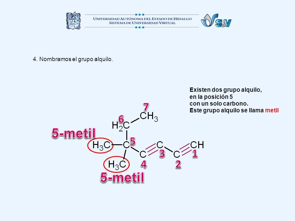 5-metil 5-metil 7 6 5 3 1 4 2 4. Nombramos el grupo alquilo.