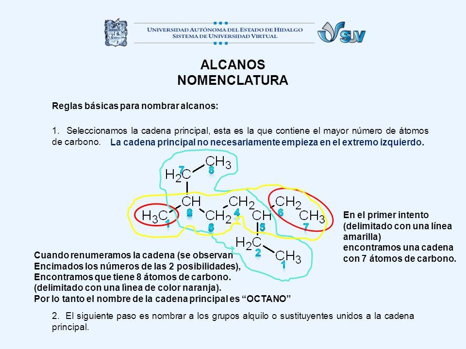 ALCANOS NOMENCLATURA. Reglas básicas para nombrar alcanos: