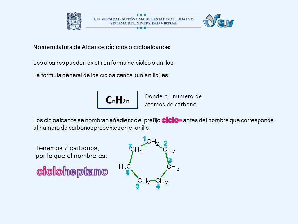 CnH2n cicloheptano Donde n= número de átomos de carbono. 1 2