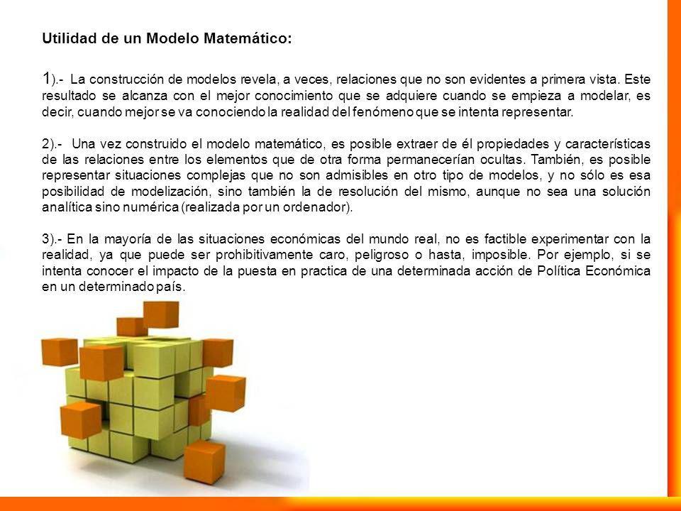Utilidad de un Modelo Matemático: