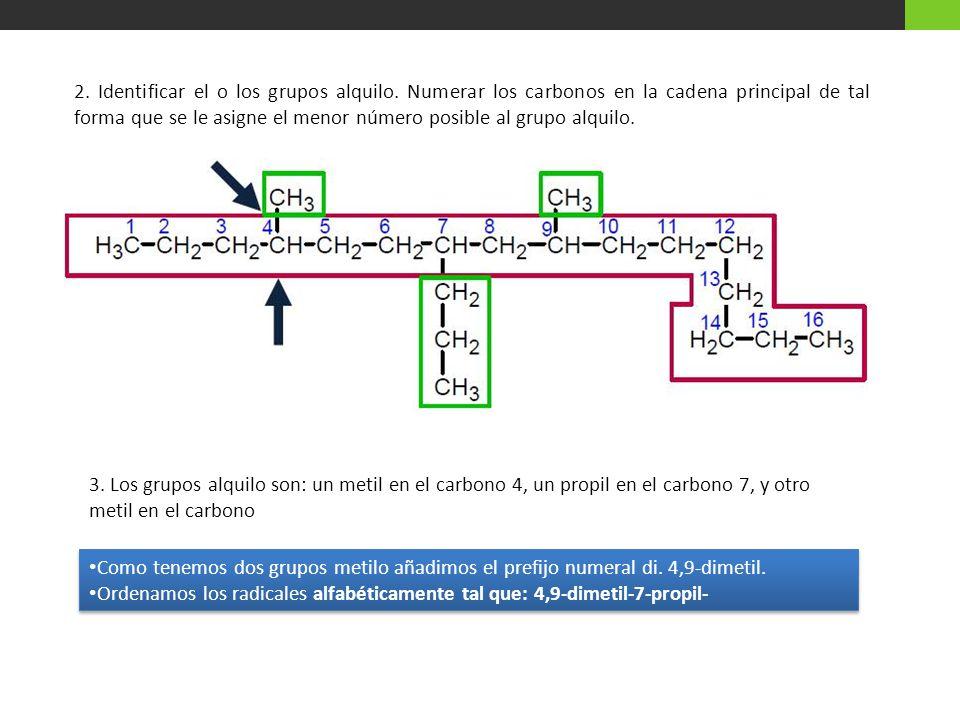 2. Identificar el o los grupos alquilo