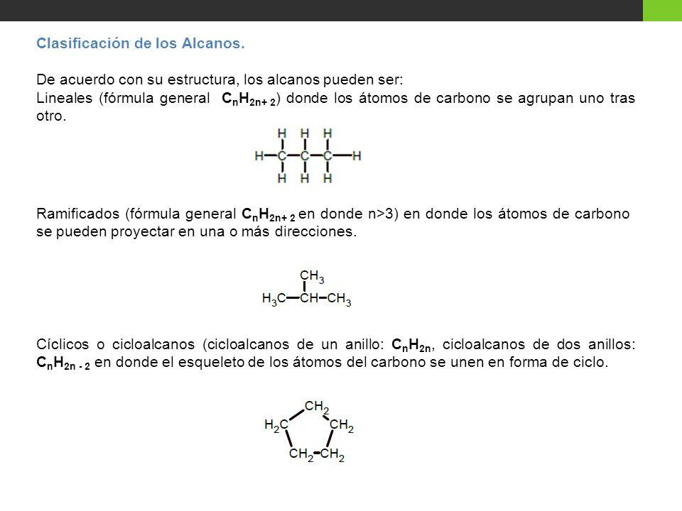 Clasificación de los Alcanos.