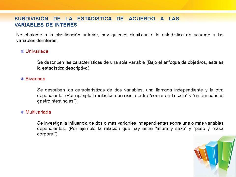 SUBDIVISIÓN DE LA ESTADÍSTICA DE ACUERDO A LAS VARIABLES DE INTERÉS