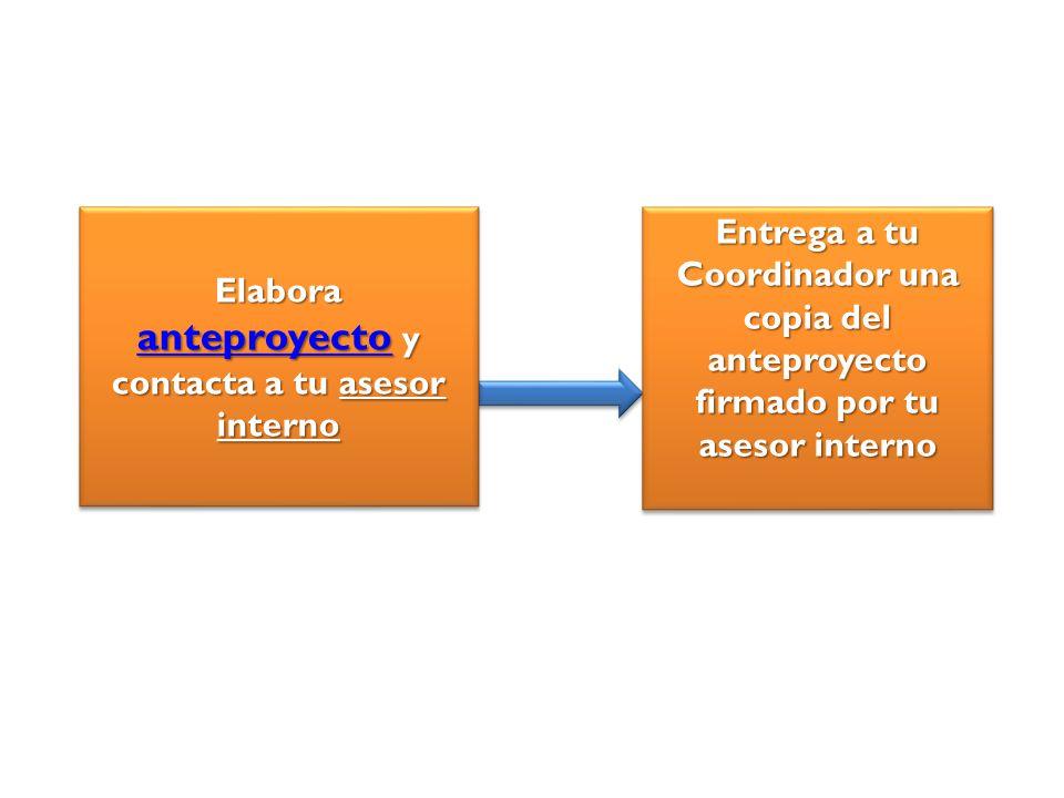 Elabora anteproyecto y contacta a tu asesor interno