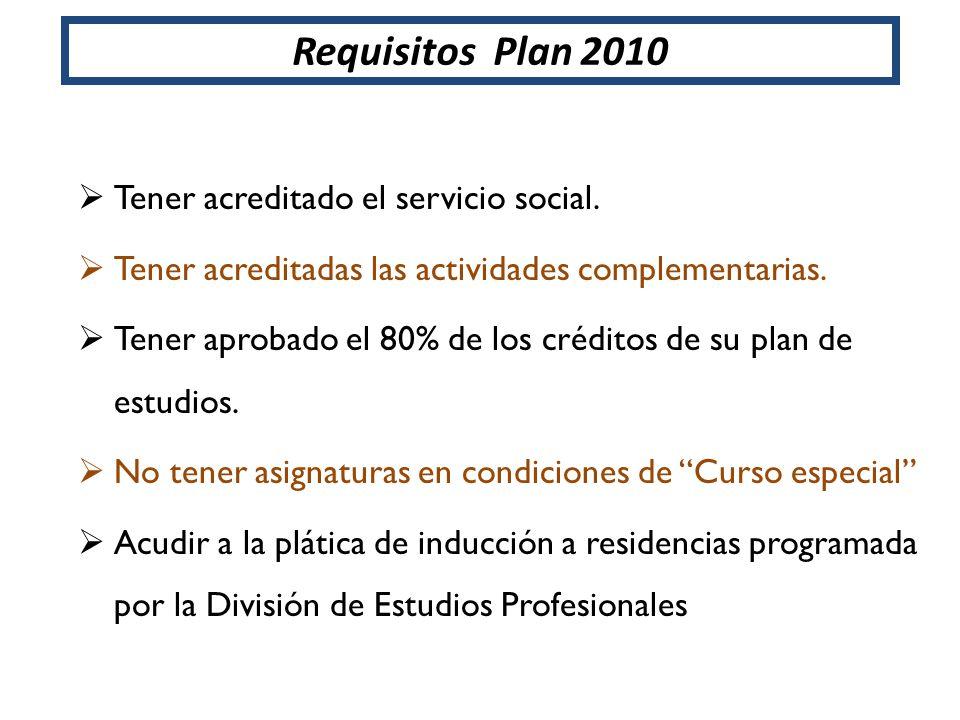 Requisitos Plan 2010 Tener acreditado el servicio social.