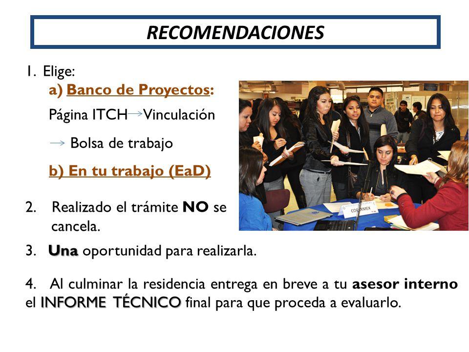 RECOMENDACIONES Elige: Banco de Proyectos: Página ITCH Vinculación