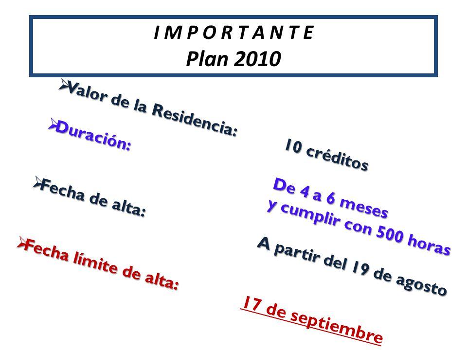 Plan 2010 I M P O R T A N T E Valor de la Residencia: 10 créditos