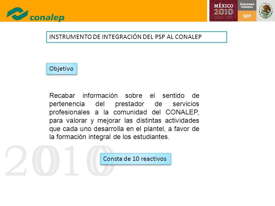 INSTRUMENTO DE INTEGRACIÓN DEL PSP AL CONALEP