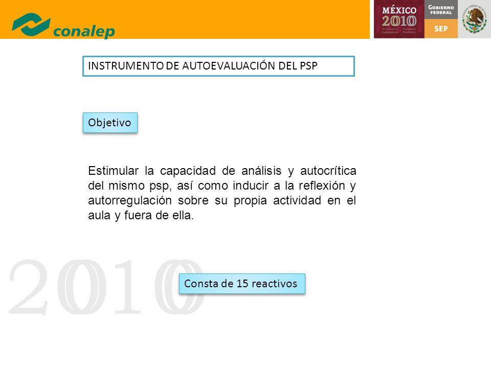 INSTRUMENTO DE AUTOEVALUACIÓN DEL PSP