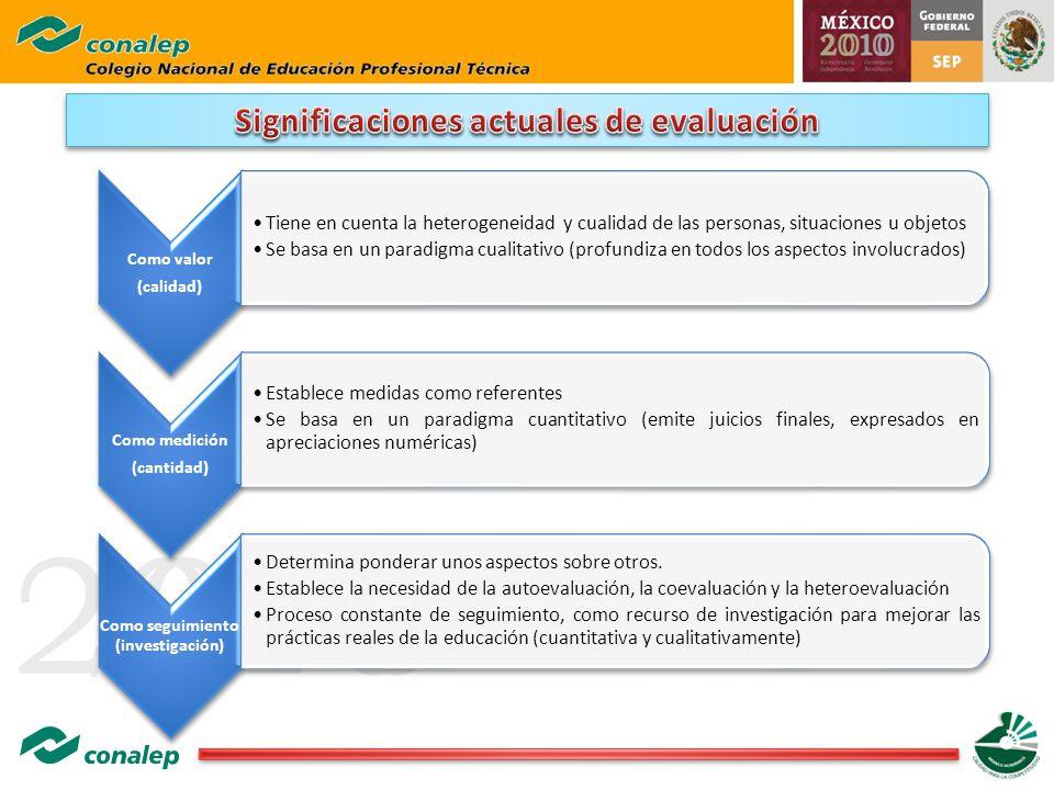 Significaciones actuales de evaluación