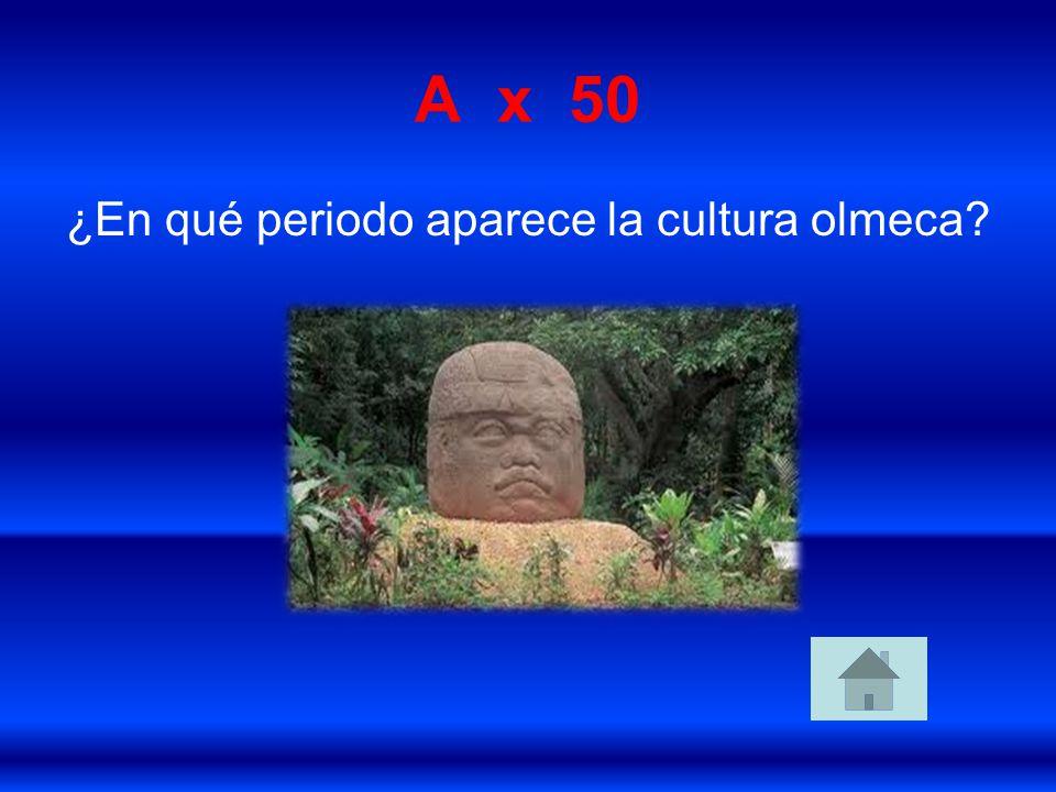 ¿En qué periodo aparece la cultura olmeca