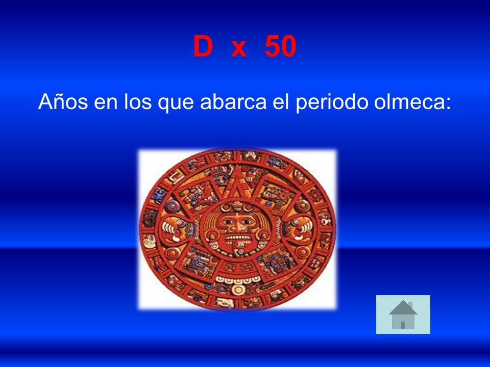Años en los que abarca el periodo olmeca: