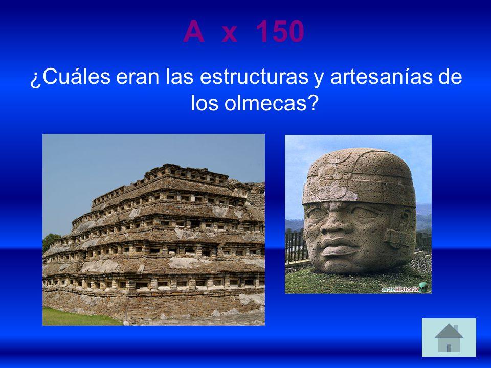 ¿Cuáles eran las estructuras y artesanías de los olmecas