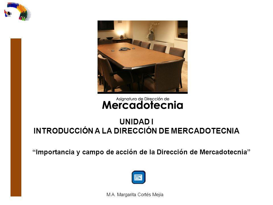 UNIDAD I INTRODUCCIÓN A LA DIRECCIÓN DE MERCADOTECNIA