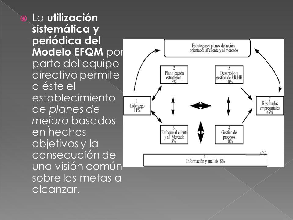 La utilización sistemática y periódica del Modelo EFQM por parte del equipo directivo permite a éste el establecimiento de planes de mejora basados en hechos objetivos y la consecución de una visión común sobre las metas a alcanzar.
