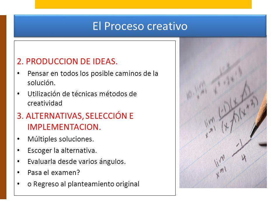 El Proceso creativo 2. PRODUCCION DE IDEAS.