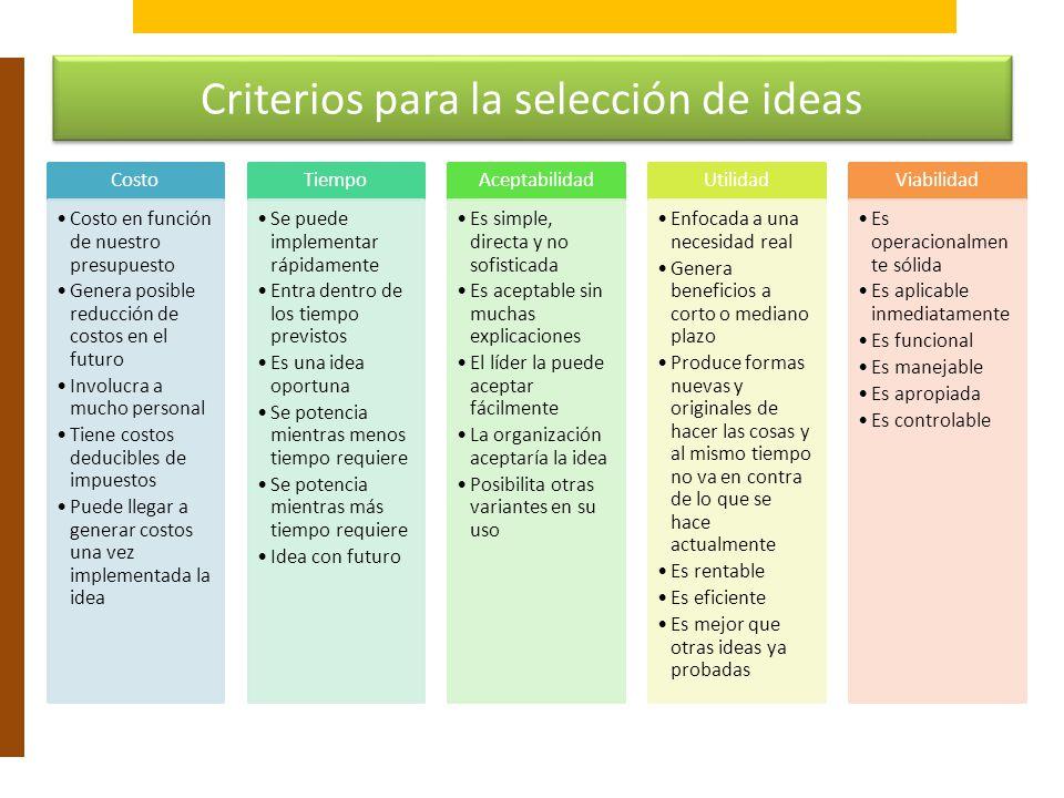 Criterios para la selección de ideas