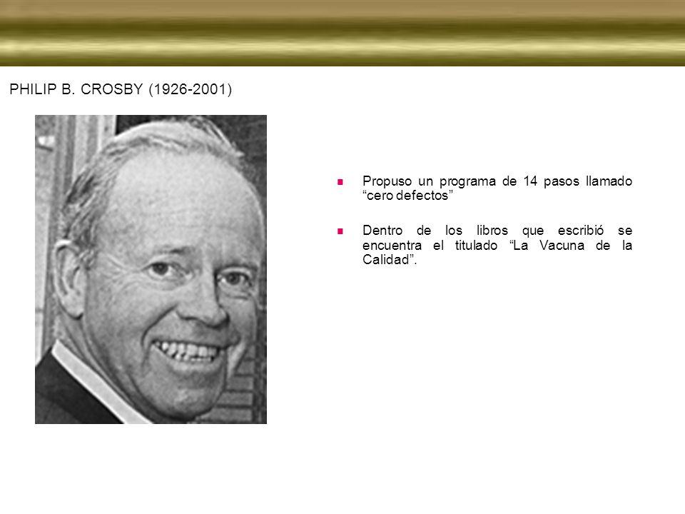 Philip B. Crosby (1926-2001) Propuso un programa de 14 pasos llamado cero defectos