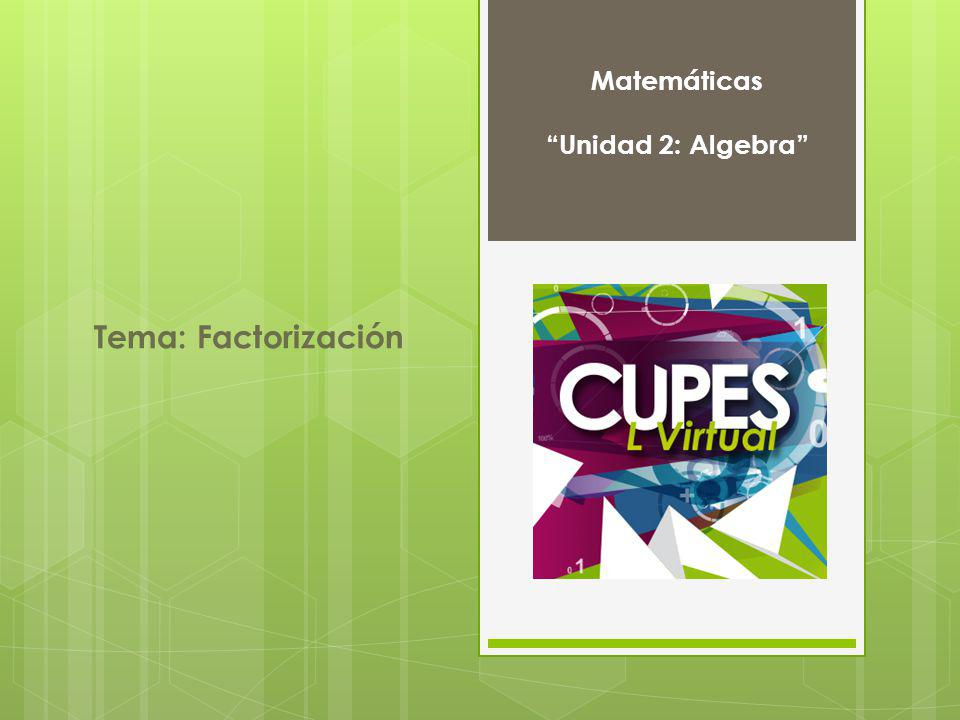 Matemáticas Unidad 2: Algebra Tema: Factorización