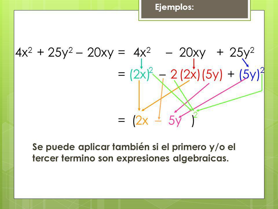 4x2 + 25y2 – 20xy = 4x2 – 20xy + 25y2 = (2x) – 2 (2x) (5y) + (5y) 2 2
