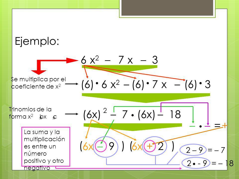 Ejemplo: 6 x2 – 7 x – 3 (6) 6 x2 – (6) 7 x – (6) 3 2 (6x) – 7 (6x) –
