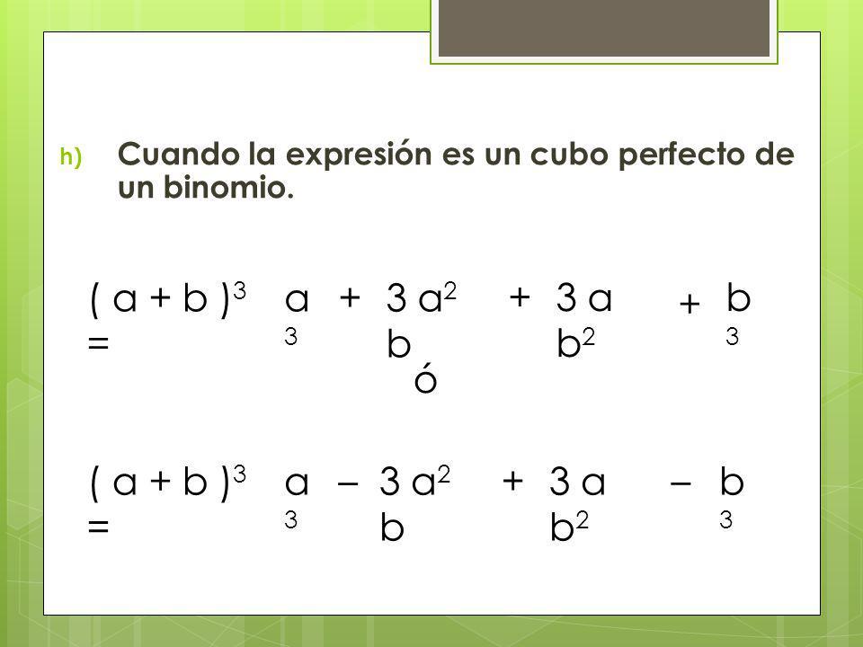 Cuando la expresión es un cubo perfecto de un binomio.