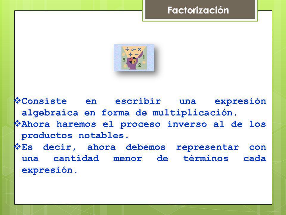 Factorización Consiste en escribir una expresión algebraica en forma de multiplicación.