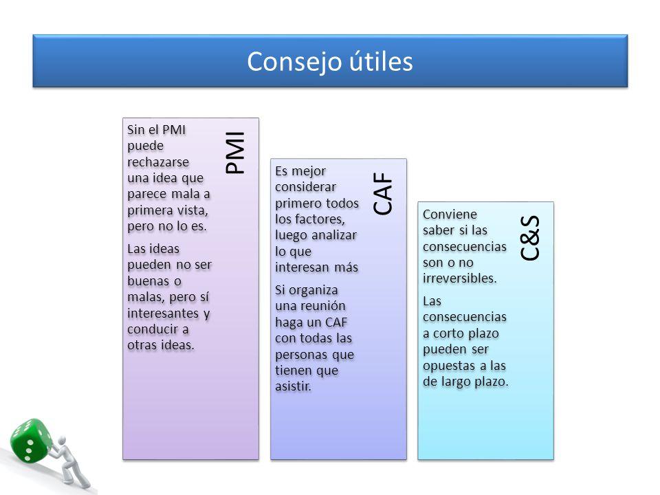 Consejo útiles PMI CAF C&S