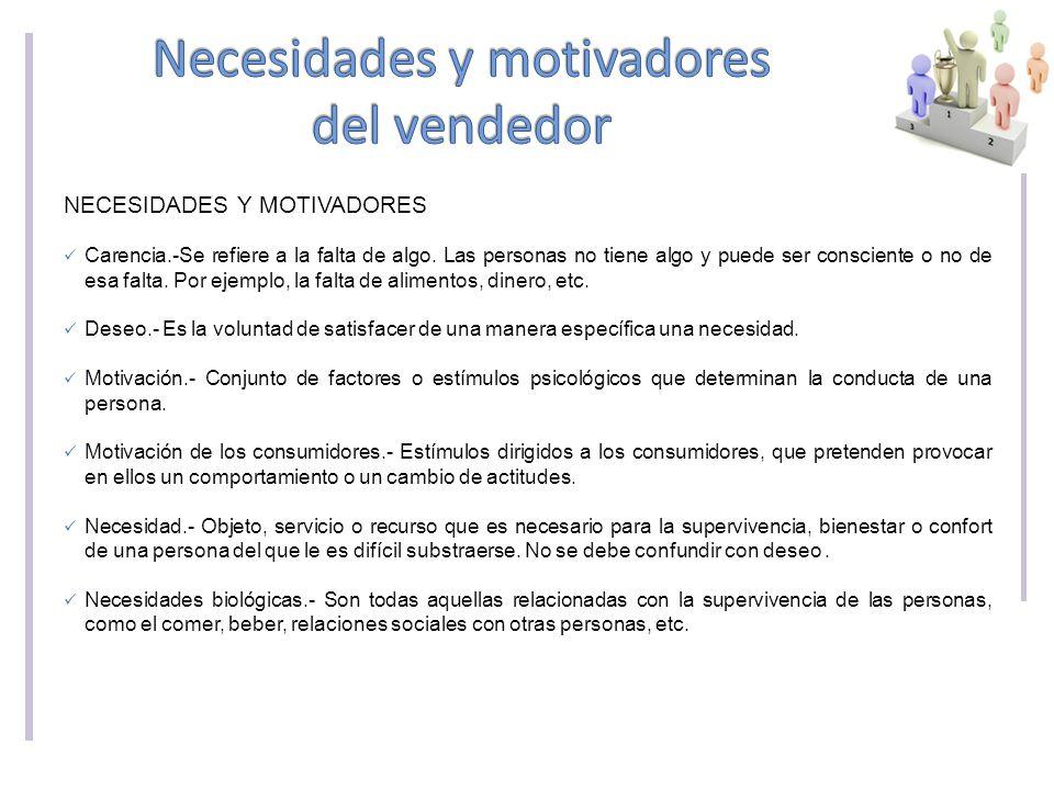 Necesidades y motivadores del vendedor