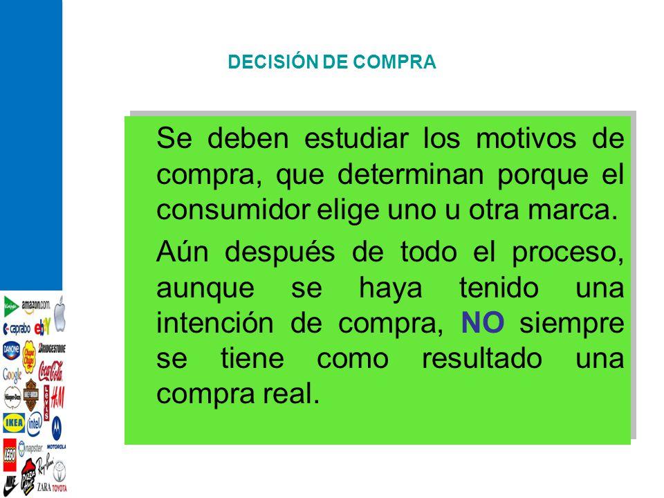 DECISIÓN DE COMPRA Se deben estudiar los motivos de compra, que determinan porque el consumidor elige uno u otra marca.